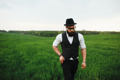 Man with a beard and sunglasses walking on the field. Man with a beard and glasses in the green field stock photos