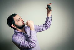 Man with beard taking the  selfie Stock Images
