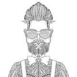 Man with beard and tattoo vector illustration Royalty Free Stock Photography