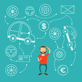 The man with beard thinking of choice. Decision concept. Vector flat design illustration.buys a car and can not choose Stock Photo