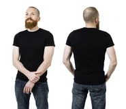 Man with beard wearing blank black shirt. Photo of a man with a beard and wearing a blank black t-shirt, front and back. Ready for your design or artwork Royalty Free Stock Image