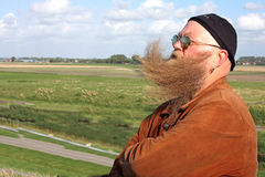 Man with a long beard gone with the wind  Stock Images