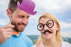 Man with beard and woman having fun party. Add some fun. Making funny photos birthday party. Just for fun. Humor and royalty free stock images