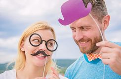 Man with beard and woman having fun party. Add some fun. Making funny photos birthday party. Just for fun. Humor and royalty free stock photo