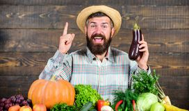 Man with beard wooden background. Farmer with organic vegetables. Gardening and farming systems prescribe specific. Techniques. Organic horticulture concept royalty free stock photography