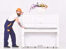 Man with beard worker in helmet and overalls pushes, efforts to move piano, white background. Loader moves piano. Instrument. Heavy loads concept. Courier stock photography