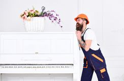Man with beard, worker in overalls and helmet pushes piano, white background. Delivery service concept. Loader moves. Piano instrument. Courier delivers Royalty Free Stock Photography