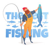 Man with a beard in a yellow overalls caught a big fish. Stock Photos