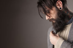 Man with beard. Young man with beard and mustache touching his beard royalty free stock images