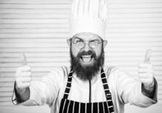 Man bearded chef getting ready cooking delicious dish. Chef at work starting shift. Guy in professional uniform ready royalty free stock photography
