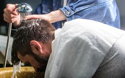 Man bearded client of hipster barbershop. Man with beard and mustache with towel on shoulders, male hands with shower on. Background. Barbers hands washing hair Stock Photo