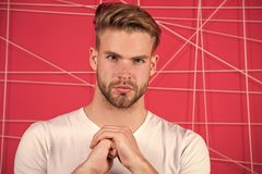 Man bearded concentrated focused glance. Guy unshaven face and mustache look strictly. Beard grooming and hair care in. Barbershop. Grooming tips from barber royalty free stock images