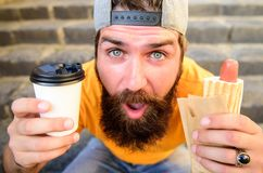 Man bearded enjoy quick lunch stairs background. Hipster eat hot dog. Hipster enjoy hot dog drink paper cup. Fast food. Meal for lunch. Energy from street food stock images