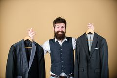Man bearded fashion couturier tailor. Elegant custom outfit. Tailoring and clothes design. Perfect fit. Custom made to. Measure. Tailored suit concept royalty free stock photos