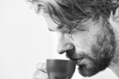 Man bearded handsome macho hold cup of coffee. Best time to have your cup of coffee. Guy attractive appearance man enjoy royalty free stock photos