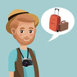 Man bearded hat camera suitcase Stock Photography