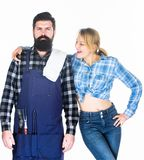 Man bearded hipster and girl. Preparation and culinary. Family weekend. Couple in love hold kitchen utensils. Tools for stock photos