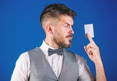 Man bearded hipster hold plastic blank card blue background. Take this card. Make shopping easy. Banking and credit. Concept. Plastic bank card. Easy money stock photos