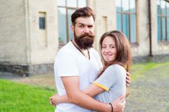 Man bearded hipster and pretty woman in love. Loving heart is truest wisdom. Summer vacation. Fall in love. Happy. Man bearded hipster and pretty women in love royalty free stock image