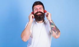 Man bearded hipster red ripe strawberry ears as headphones. Summer top radio chart. Guy enjoy juicy sound summer hit. Song music. Hipster beard listen music Stock Photos