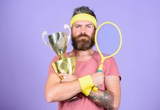 Man bearded hipster wear sport outfit. Success and achievement. Win every tennis match i take part in. Tennis player win. Championship. Athlete hold tennis royalty free stock images