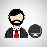 man bearded pc computer icon Royalty Free Stock Photo