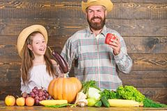 Man bearded rustic farmer with kid. Family father farmer gardener with daughter near harvest vegetables. Farm market royalty free stock image