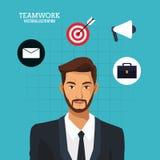 Man bearded suit business teamwork blue background. Vector illustration eps 10 Stock Image
