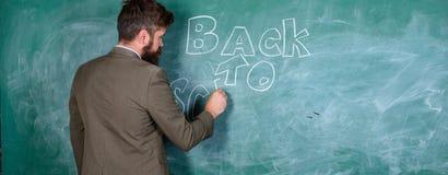 Man bearded teacher missed his work during vacation. Teacher near chalkboard holds chalk write inscription back to. School. Teacher passionate job ability reach stock images