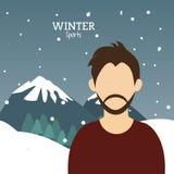 Man bearded winter sport alps mountains snow. Vector illustration eps 10 Stock Photo