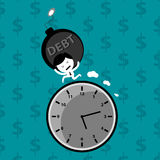 Man bearing debt bomb financial problem. Man bearing debt bomb run out of time financial problem vector concept Stock Image