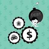 Man bearing debt bomb financial problem Royalty Free Stock Photos