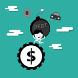 Man bearing debt bomb running on money wheel Stock Image