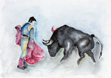 Man and beast. Fight fight, man and beast concept. Handmade watercolor illustration painted art image Stock Image