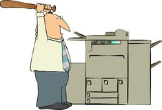 Man Beating A Copy Machine Stock Images