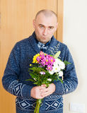 Man with  beautiful bouquet Stock Image