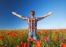 Man on a beautiful field. Stock Photo