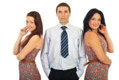 Man with beauty two women Royalty Free Stock Image
