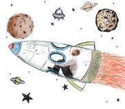 Man becomes an astronaut Stock Image