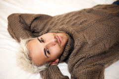 Man in bed Stock Image