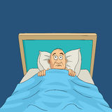 Man on bed with eyes wide open cartoon. Cartoon illustration of a man on bed with eyes wide open, insomnia, nightmare theme Royalty Free Stock Image