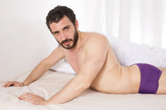 Man in bed Royalty Free Stock Photo