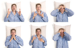 Man in bed showing different expressions Royalty Free Stock Photos