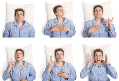Man in bed showing different expressions Stock Image