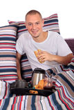 Man bedroom breakfast Stock Photo