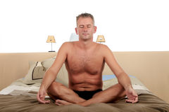 Man bedroom yoga Stock Photos