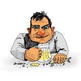 Man with beer. Illustration of man with glass of beer Stock Images