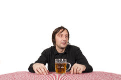 Man and beer. Man with pint of beer isolated on white stock photos