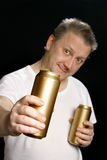 Man with beer can Royalty Free Stock Photography