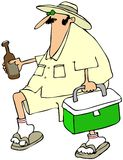 Man with a beer cooler. This illustration depicts a man in a creme colored outfit carrying a bottle and a cooler of beer Stock Photo